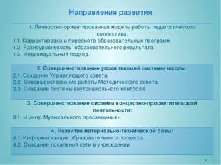 Направления развития 1. Личностно-ориентированнаямодель работы педагогическог