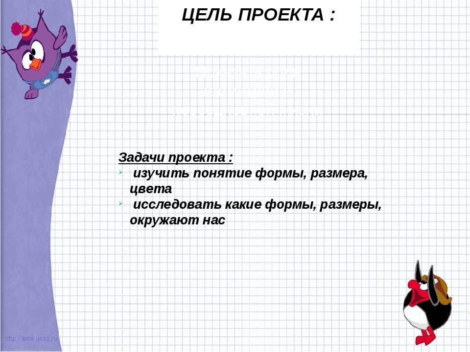 ЦЕЛЬ ПРОЕКТА : Показать роль геометрии в повседневной жизни Задачи проекта :...