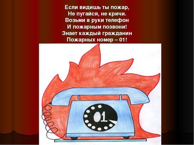 Если видишь ты пожар, Не пугайся, не кричи. Возьми в руки телефон И пожарным...