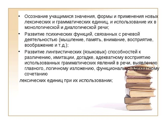 Осознание учащимися значения, формы и применения новых лексических и граммати...
