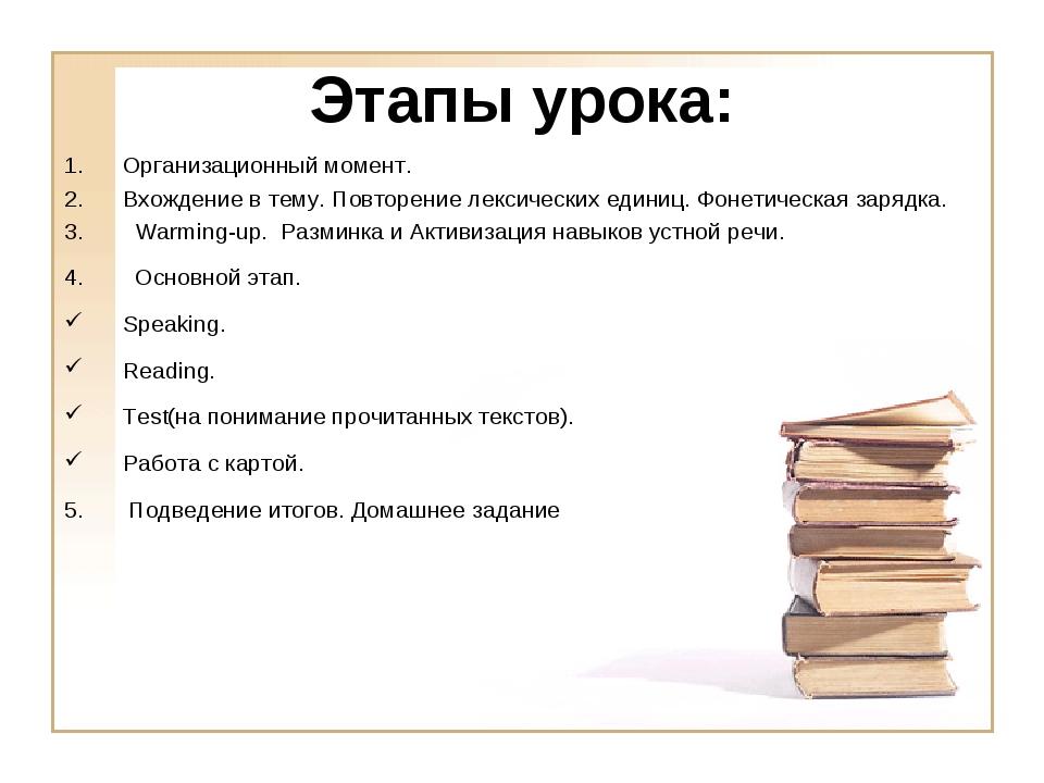Этапы урока: Организационный момент. Вхождение в тему. Повторение лексических...