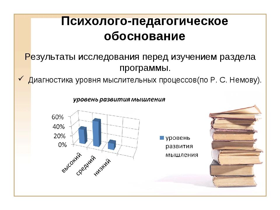 Психолого-педагогическое обоснование Результаты исследования перед изучением...