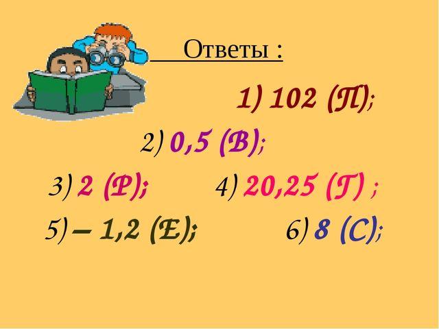 Ответы : 1) 102 (П); 2) 0,5 (В); 3) 2 (Р); 4) 20,25 (Г) ; 5) – 1,2 (Е); 6) 8...