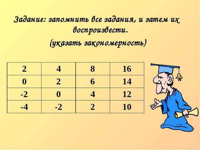Задание: запомнить все задания, и затем их воспроизвести. (указать закономер...