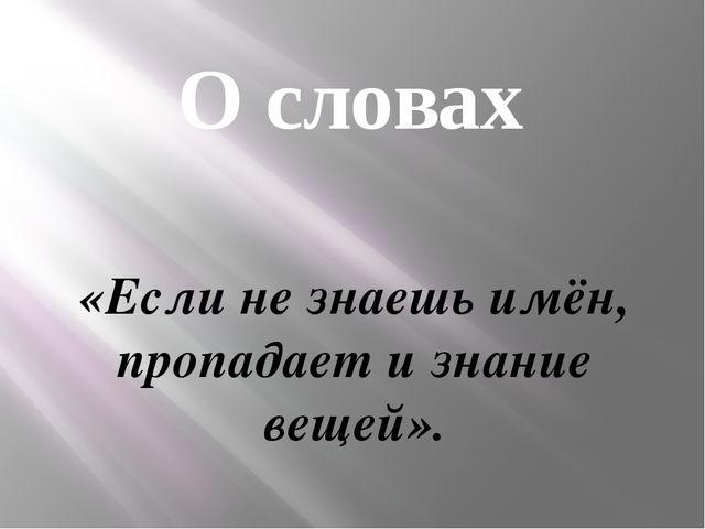 О словах «Если не знаешь имён, пропадает и знание вещей».