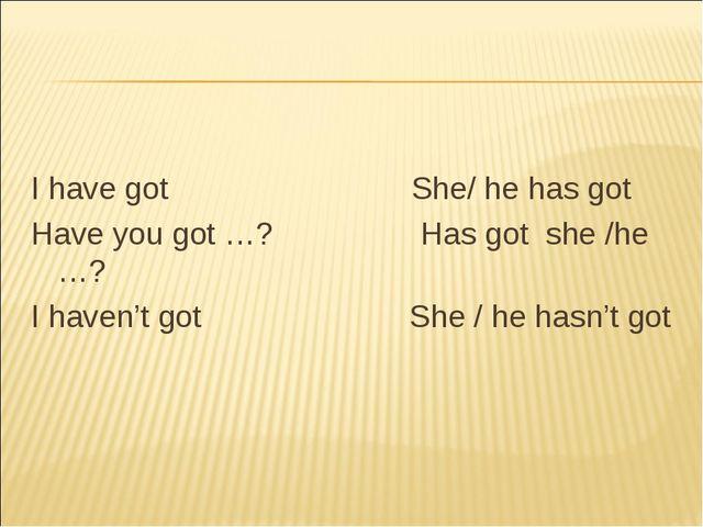 I have got She/ he has got Have you got …? Has got she /he …? I haven't got...