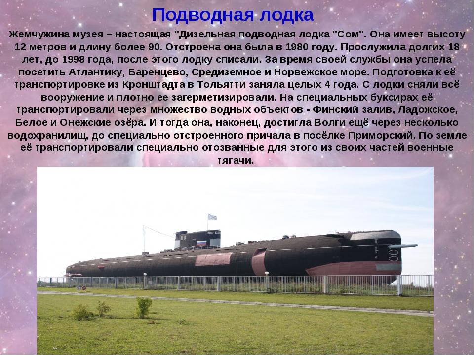 """Жемчужина музея – настоящая """"Дизельная подводная лодка """"Сом"""". Она имеет высот..."""