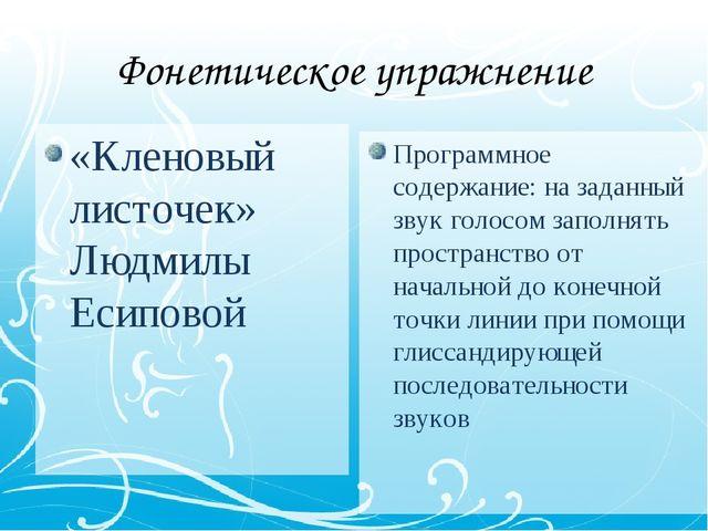 Фонетическое упражнение «Кленовый листочек» Людмилы Есиповой Программное соде...