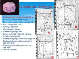 ОСНОВНЫЕ ТЕРМИНЫ С помощью рисунка назовите: Боковые ребра призмы (А). Боков