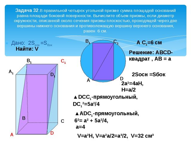 Дано: 2Sосн =Sбок Задача 32.В правильной четырех угольной призме сумма площад...