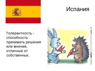 Испания Толерантность - способность принимать решения или мнения, отличные от