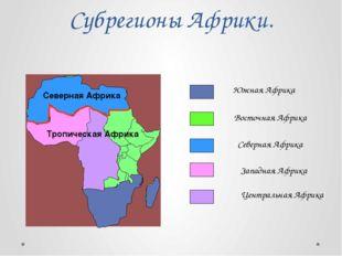 Субрегионы Африки. Южная Африка Восточная Африка Северная Африка Западная Афр