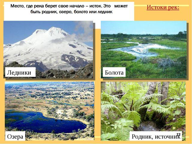 Истоки рек: Ледники Болота Озера Родник, источник Ледники Болота *