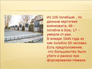 Из 106 погибших , по данным картотеки военкомата, 49 – погибли в бою, 17 – ум