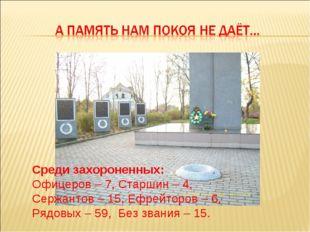 Среди захороненных: Офицеров – 7, Старшин – 4, Сержантов – 15, Ефрейторов – 6