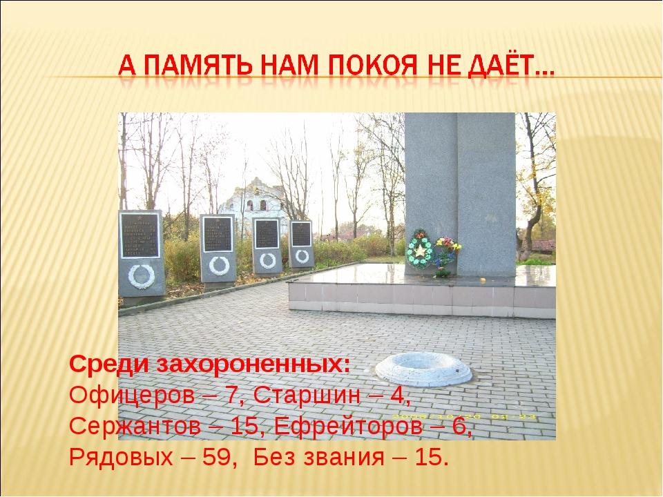 Среди захороненных: Офицеров – 7, Старшин – 4, Сержантов – 15, Ефрейторов – 6...