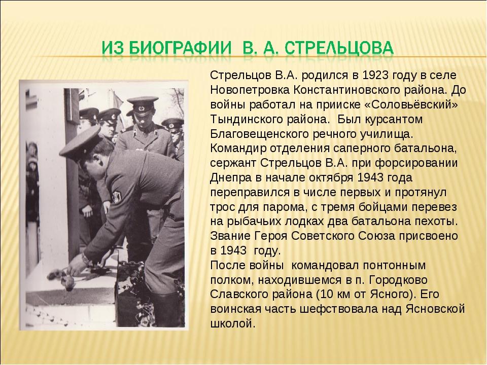 Стрельцов В.А. родился в 1923 году в селе Новопетровка Константиновского райо...