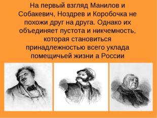 На первый взгляд Манилов и Собакевич, Ноздрев и Коробочка не похожи друг на д
