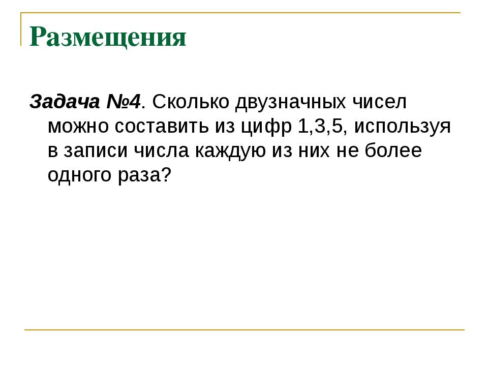 Размещения Задача №4. Сколько двузначных чисел можно составить из цифр 1,3,5,...