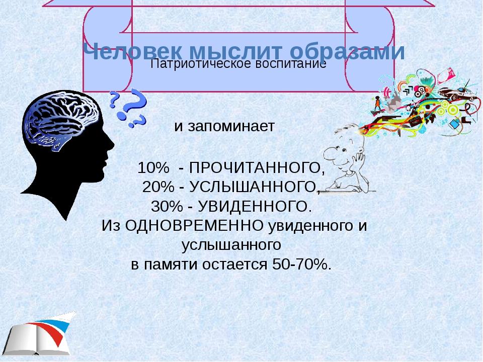 Человек мыслит образами и запоминает 10% - ПРОЧИТАННОГО, 20% - УСЛЫШАННОГО, 3...