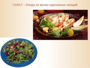 САЛАТ – блюдо из мелко нарезанных овощей