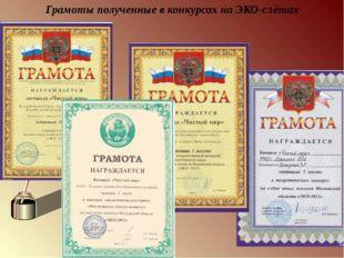 Грамоты полученные в конкурсах на ЭКО-слётах