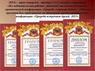 2013г.: трое учащихся - призёры (2 и 3 места) в номинации «Исследовательская