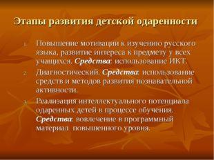 Этапы развития детской одаренности Повышение мотивации к изучению русского яз