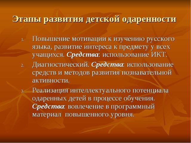 Этапы развития детской одаренности Повышение мотивации к изучению русского яз...