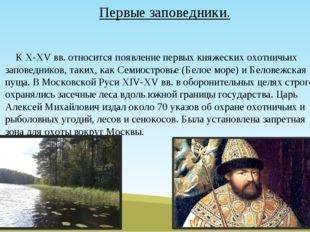 К X-XV вв. относится появление первых княжеских охотничьих заповедников, так