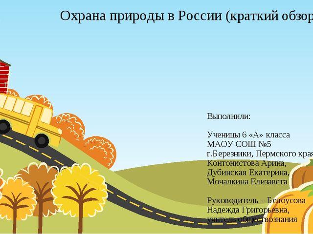 Охрана природы в России (краткий обзор) Выполнили: Ученицы 6 «А» класса МАОУ...