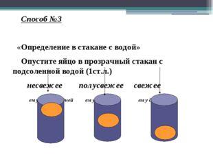 Способ №3 «Определение в стакане с водой» Опустите яйцо в прозрачный стакан