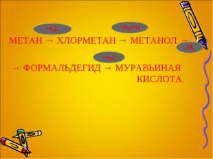 МЕТАН → ХЛОРМЕТАН → МЕТАНОЛ → → ФОРМАЛЬДЕГИД → МУРАВЬИНАЯ КИСЛОТА. +Cl