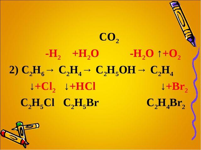 CO2 -H2 +H2O -H2O ↑+O2 2) C2H6→ C2H4→ C2H5OH→ C2H4 ↓+Cl2 ↓+HCl  ↓+Br2 C2H...