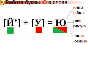 Работа буквы Ю в слове [Й'] + [У] = Ю юнга юбка пою рисую шью семью