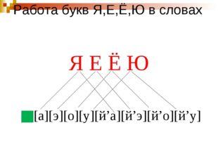 Работа букв Я,Е,Ё,Ю в словах Я Е Ё Ю [а][э][о][у][й'а][й'э][й'о][й'у]
