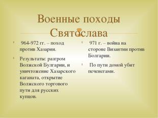 Военные походы Святослава 964-972 гг. – поход против Хазарии. Результаты: раз