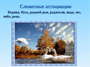 Словесные ассоциации Родина, Русь, родной дом, родители, вода, лес, небо, река.