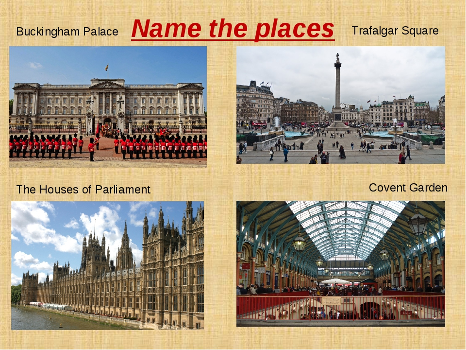 Name the places Buckingham Palace Trafalgar Square The Houses of Parliament C...