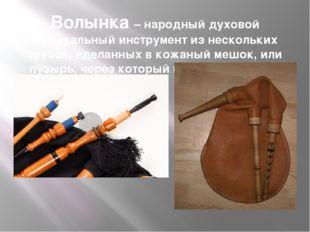 Волынка – народный духовой музыкальный инструмент из нескольких трубок, вдела