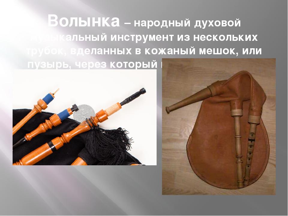 Волынка – народный духовой музыкальный инструмент из нескольких трубок, вдела...