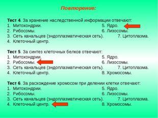 Тест 4. За хранение наследственной информации отвечают: Митохондрии.5. Яд