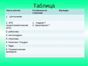 Таблица Части клеткиОсобенности строенияФункции Цитоплазма  2. ЭПС (эндоп
