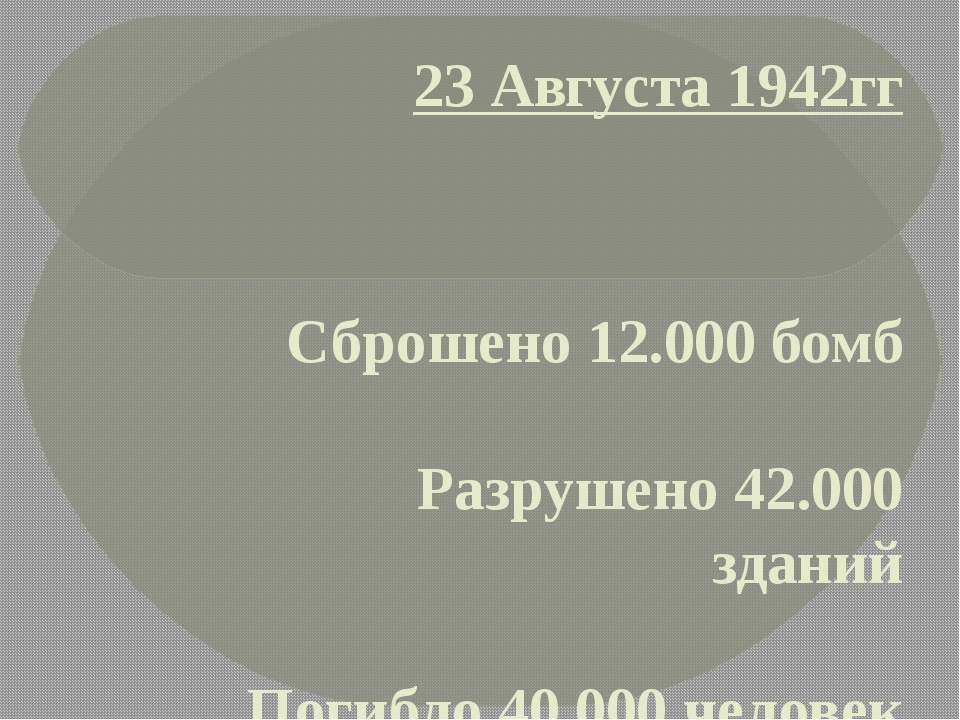 23 Августа 1942гг Сброшено 12.000 бомб Разрушено 42.000 зданий Погибло 40.000...