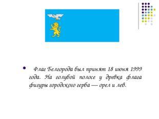Флаг Белгорода был принят 18 июня 1999 года. На голубой полосе у древка флаг
