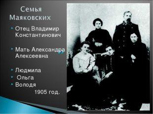 Отец Владимир Константинович Мать Александра Алексеевна Людмила Ольга Володя