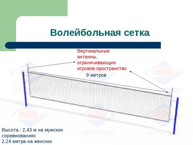 Волейбольная сетка Вертикальные антенны, ограничивающие игровое пространство...