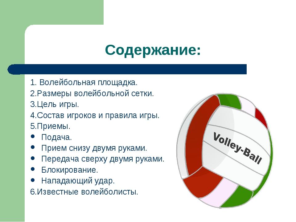 Содержание: 1. Волейбольная площадка. 2.Размеры волейбольной сетки. 3.Цель иг...