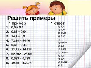 Решить примеры пример 0,6 + 0,4 0,66 + 0,04 14,4 – 8,9 72,28 – 54,46 0,66 + 0