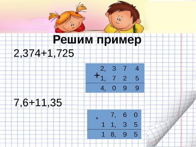 Решим пример 2,374+1,725 + + 7,6+11,35 7,60 11,35 18,95 2,374...